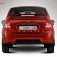 Задний бампер Totti для Лада Калина седан в цвет автомобиля., фото 1